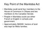 key point of the manitoba act