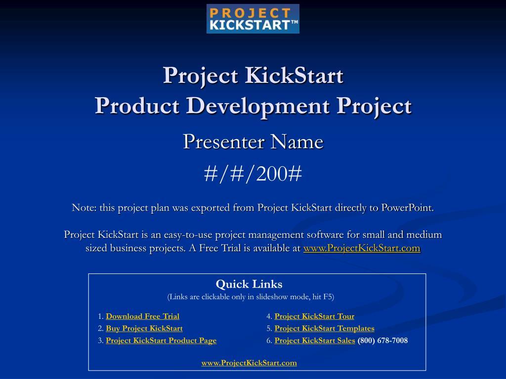project kickstart product development project l.