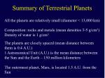 summary of terrestrial planets