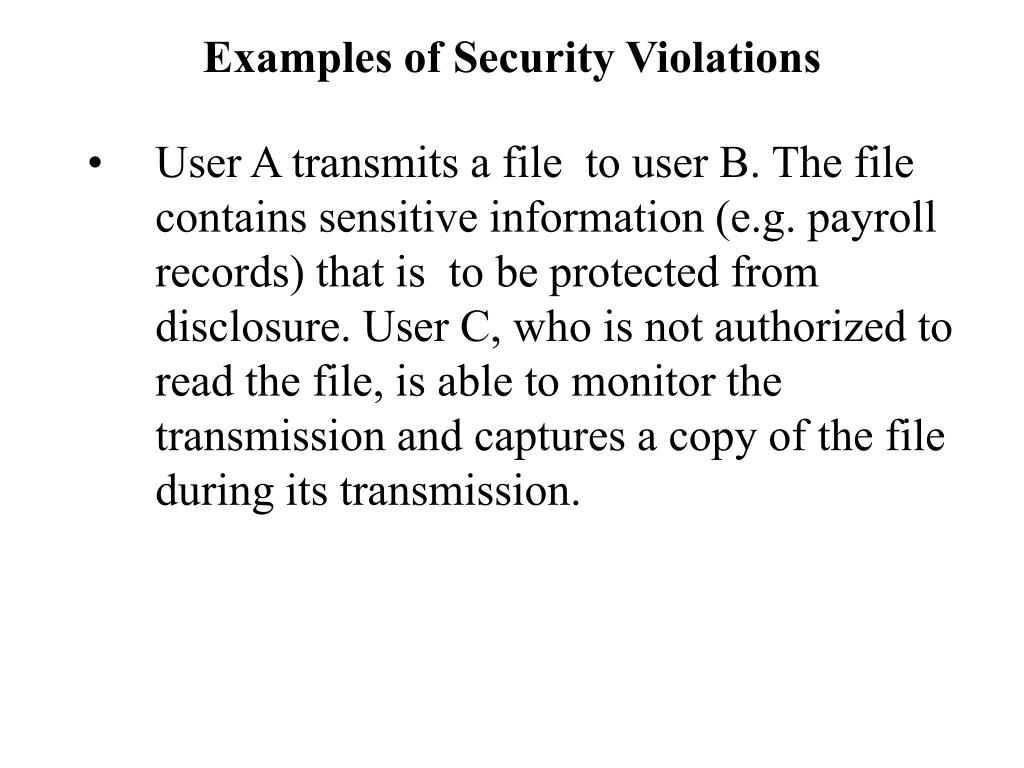 Examples of Security Violations