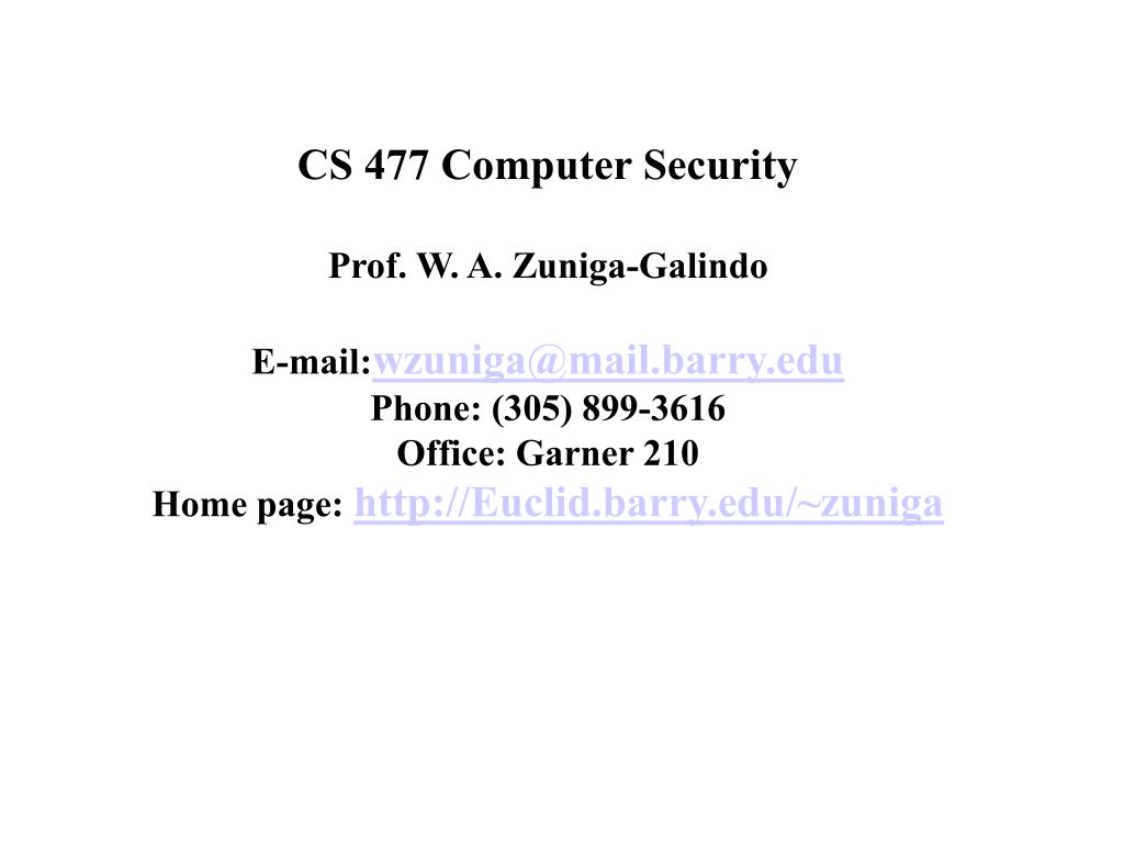 CS 477 Computer Security