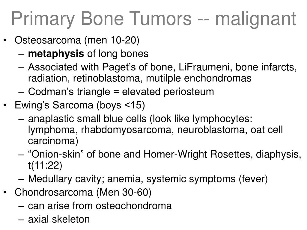 Primary Bone Tumors -- malignant