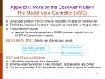 appendix more on the observer pattern the model view controller mvc