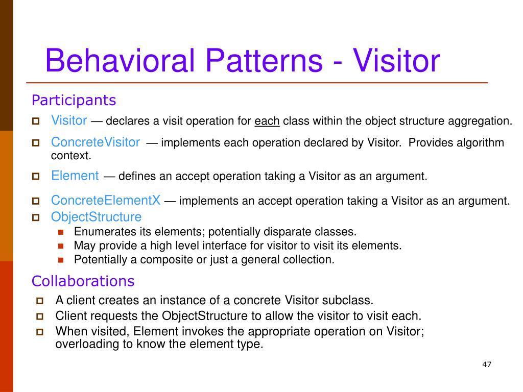 Behavioral Patterns - Visitor