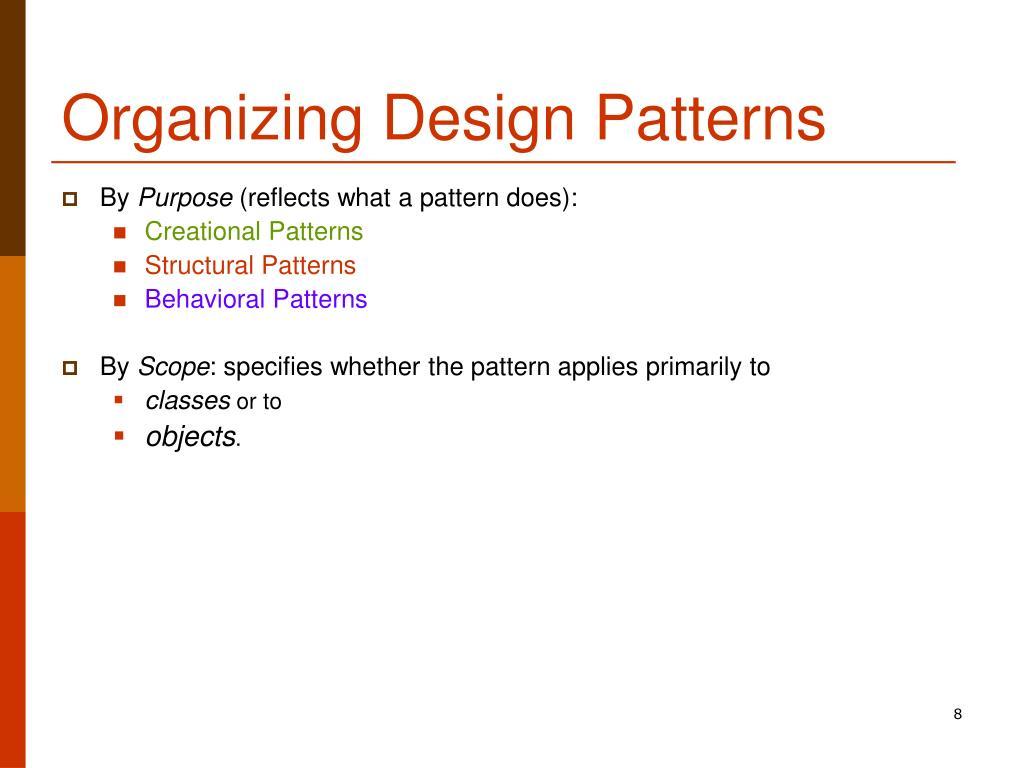 Organizing Design Patterns