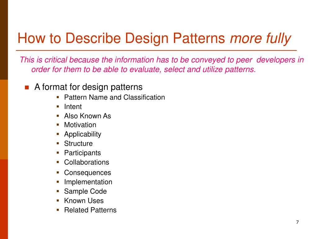 How to Describe Design Patterns