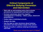 critical components of effective bullying prevention and intervention