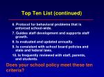 top ten list continued
