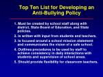 top ten list for developing an anti bullying policy