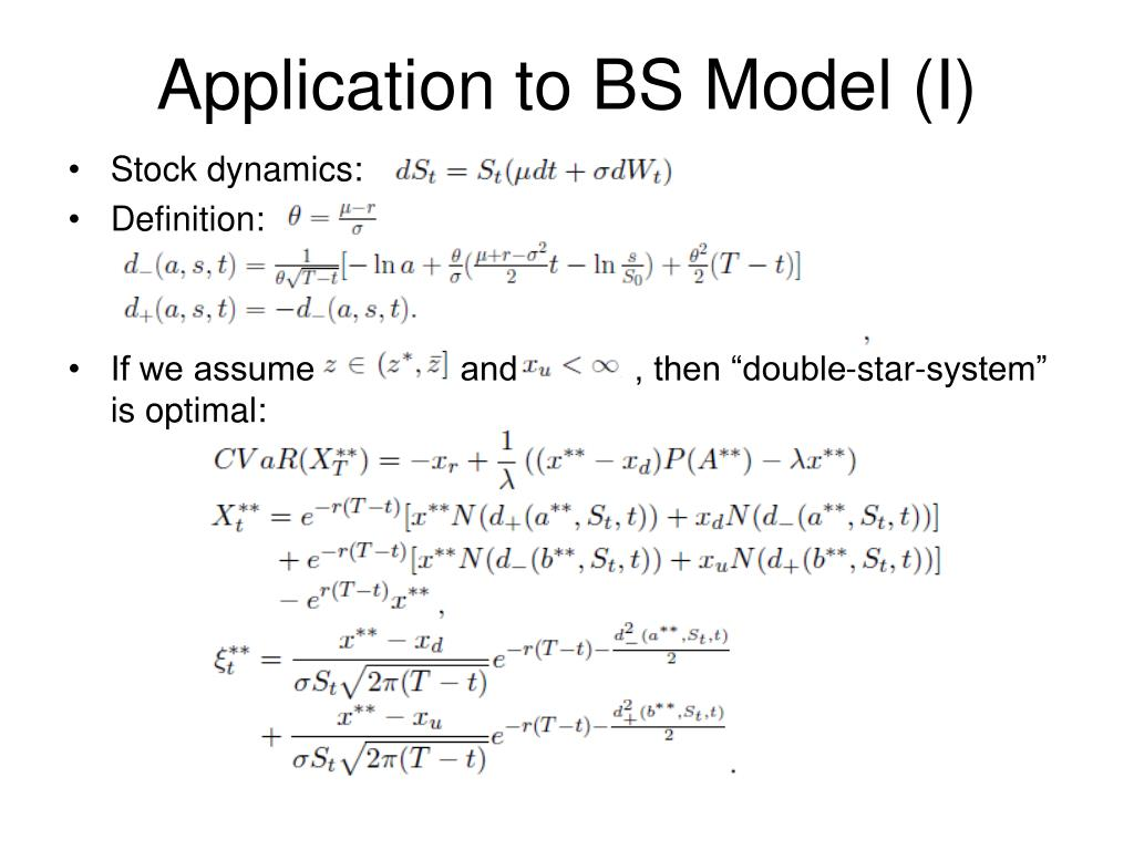Application to BS Model (I)