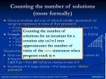counting the number of solutions more formally