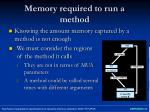 memory required to run a method