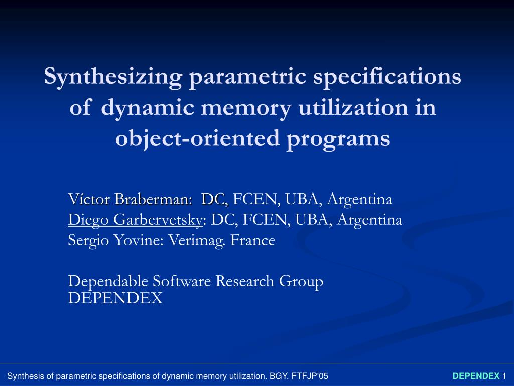 synthesizing parametric specifications of dynamic memory utilization in object oriented programs