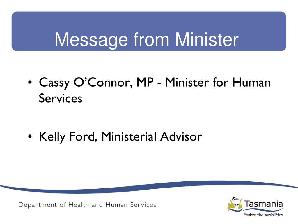 Message from Minister