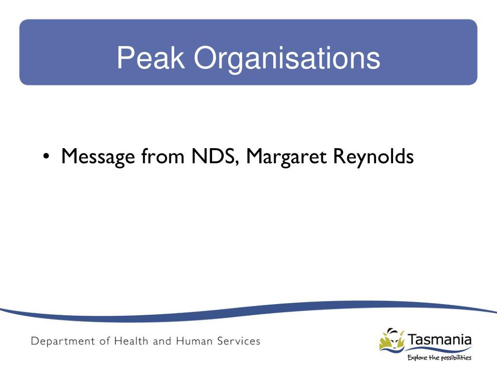 Peak Organisations