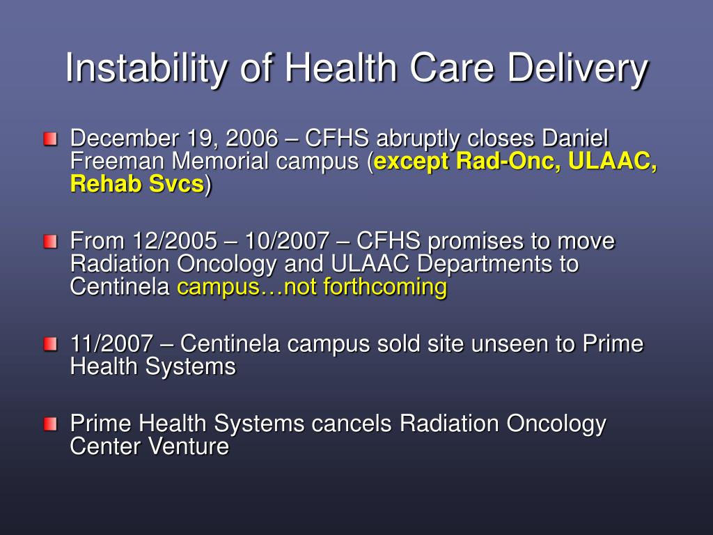 Instability of Health Care Delivery