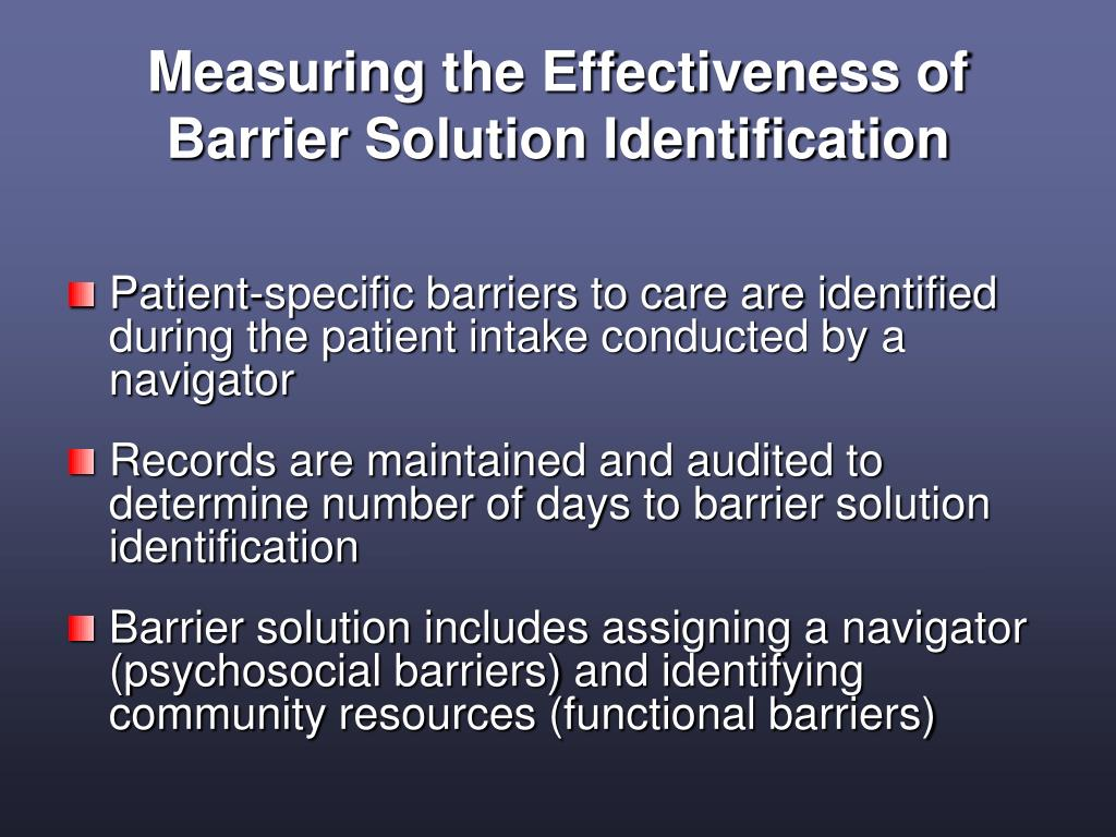 Measuring the Effectiveness of Barrier Solution Identification