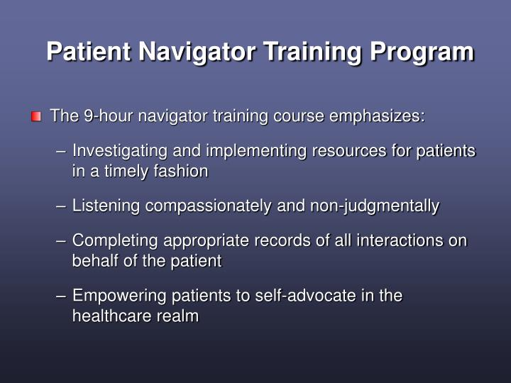 Patient navigator training program