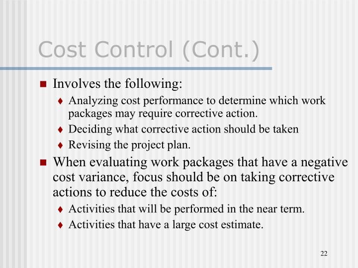 Cost Control (Cont.)