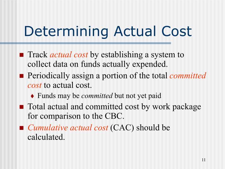 Determining Actual Cost