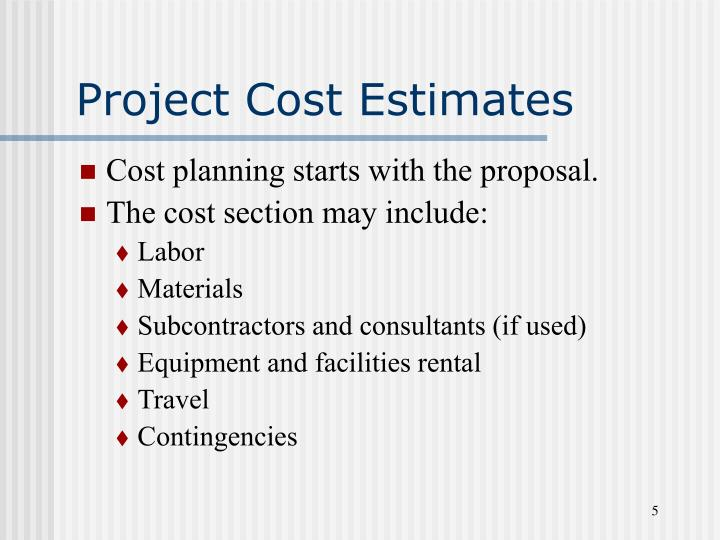 Project Cost Estimates