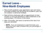 earned leave nine month employees