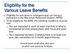 eligibility for the various leave benefits