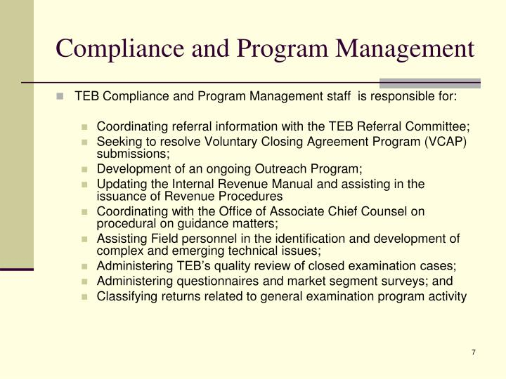 Compliance and Program Management