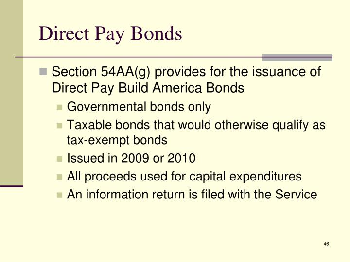 Direct Pay Bonds