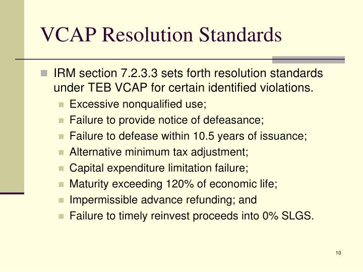 VCAP Resolution Standards