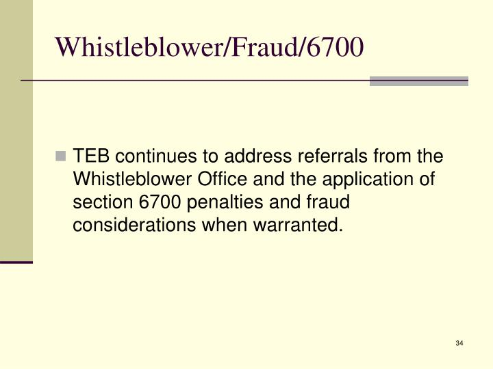 Whistleblower/Fraud/6700