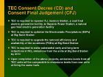 tec consent decree cd and consent final judgement cfj