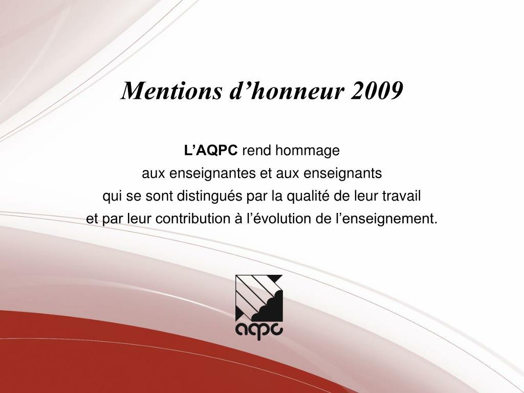 Mentions d'honneur 2009