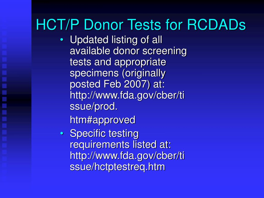HCT/P Donor Tests for RCDADs