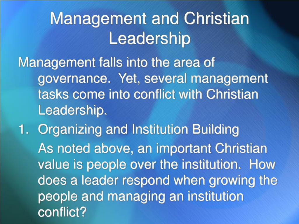 Management and Christian Leadership