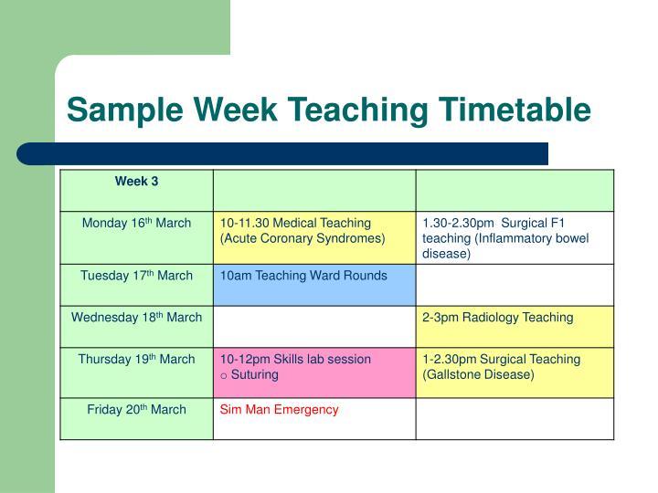 Sample Week Teaching Timetable