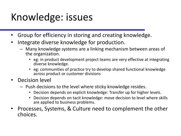 Knowledge: issues