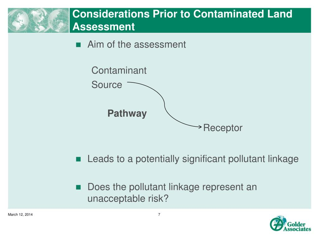 Considerations Prior to Contaminated Land Assessment