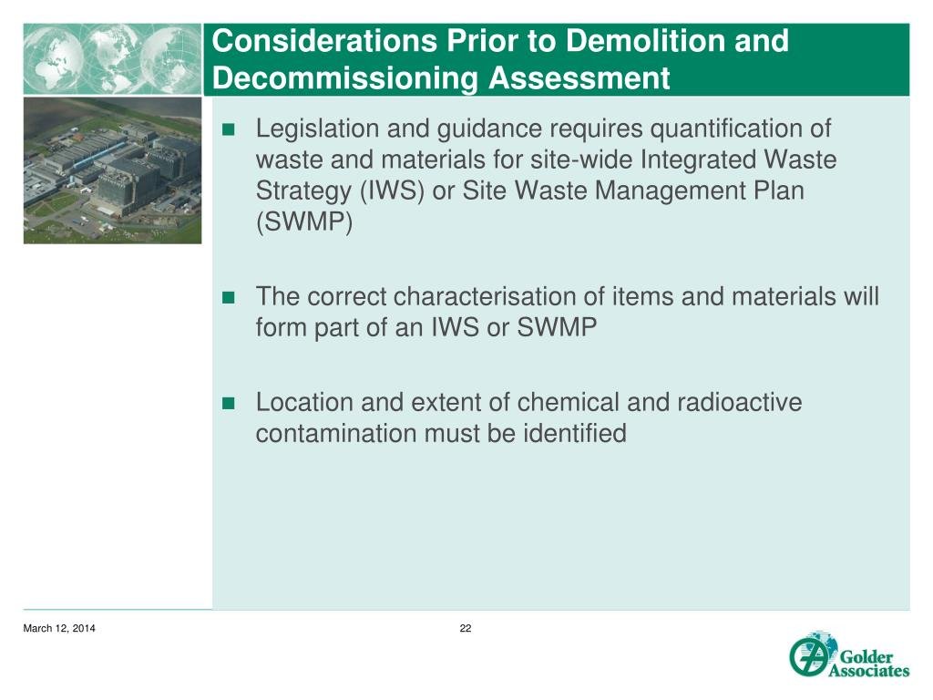 Considerations Prior to Demolition and Decommissioning Assessment