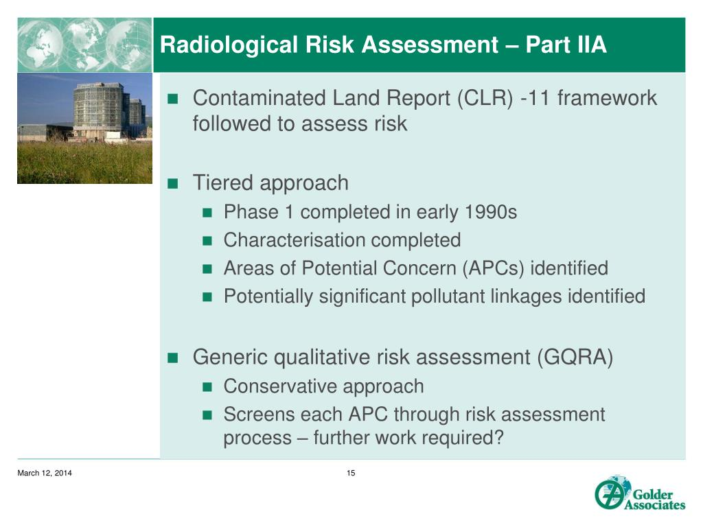 Radiological Risk Assessment – Part IIA