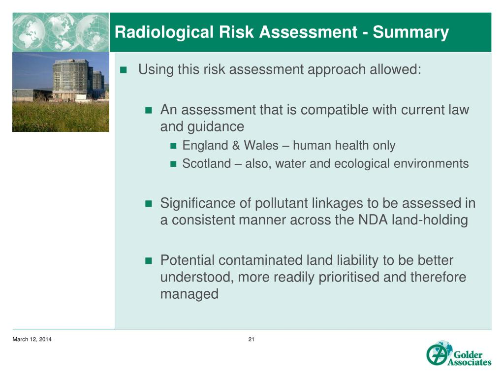 Radiological Risk Assessment - Summary