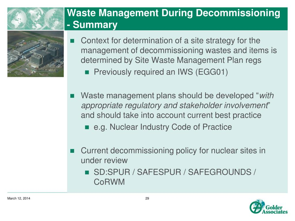 Waste Management During Decommissioning - Summary