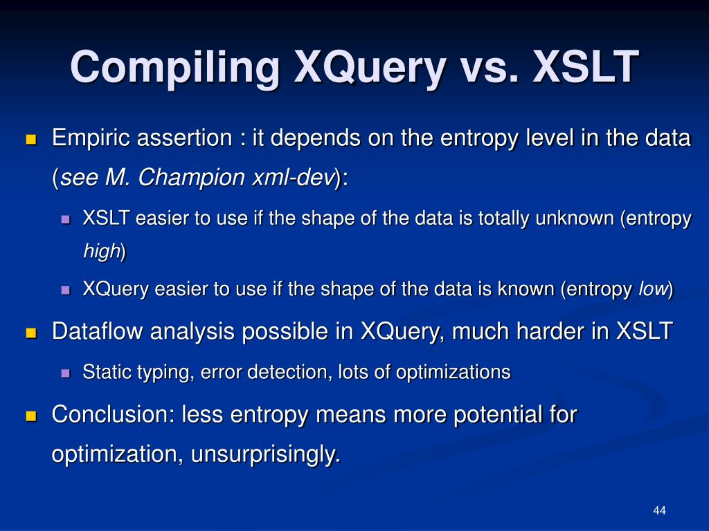 Compiling XQuery vs. XSLT