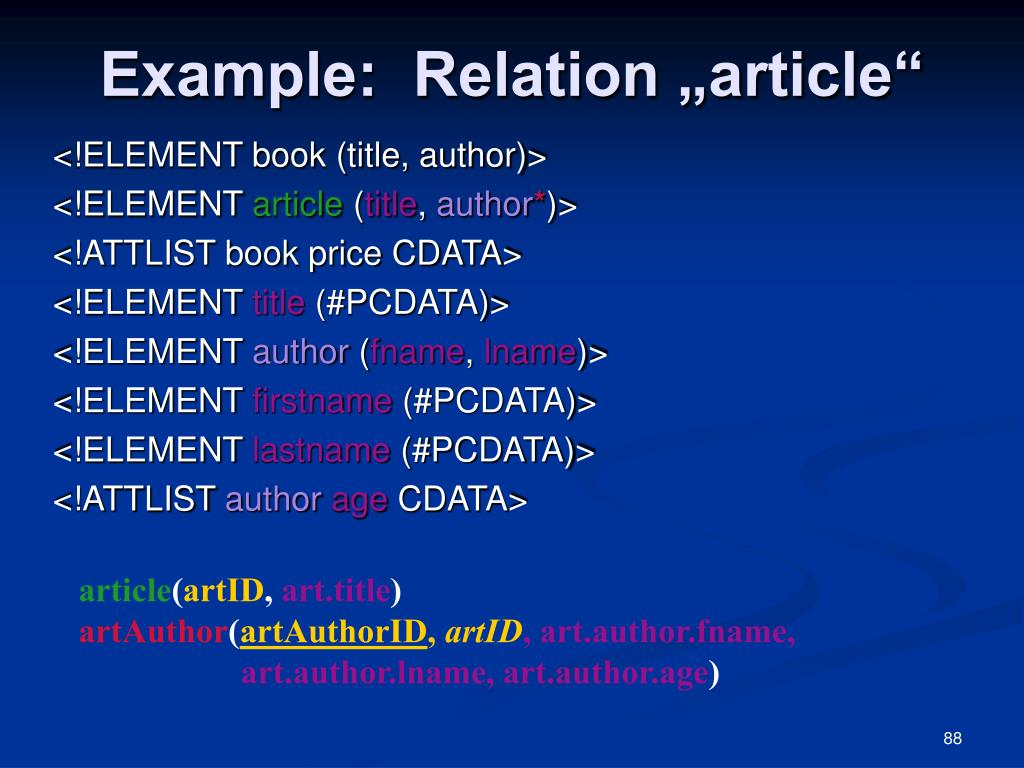 "Example:  Relation ""article"""