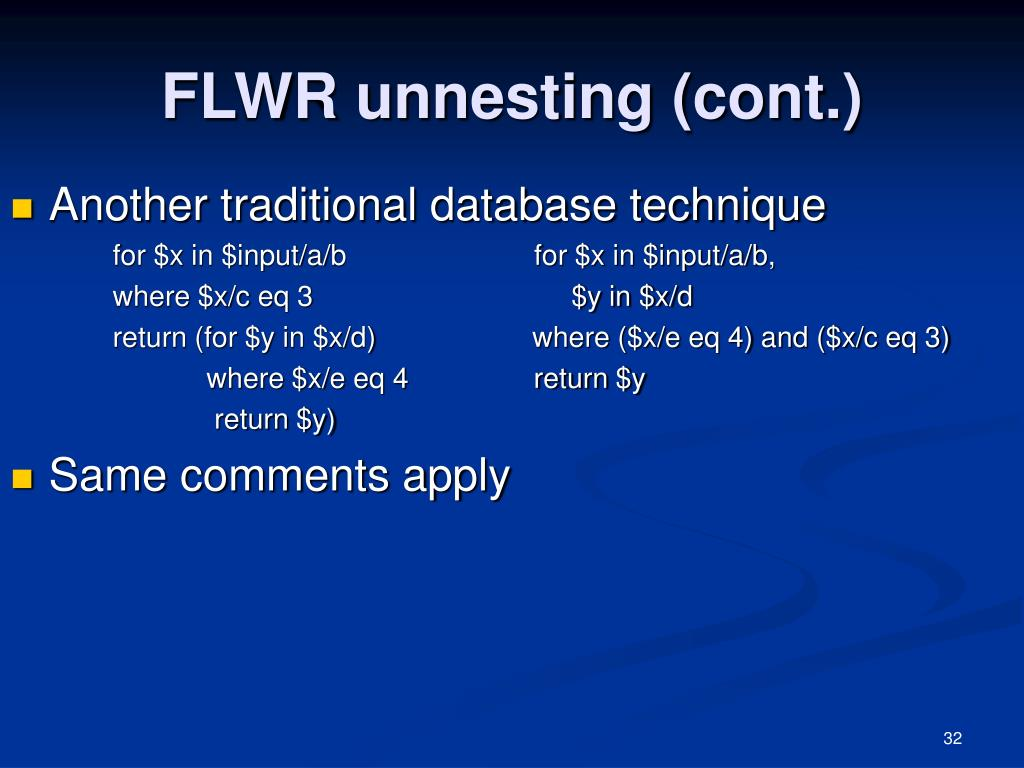 FLWR unnesting (cont.)