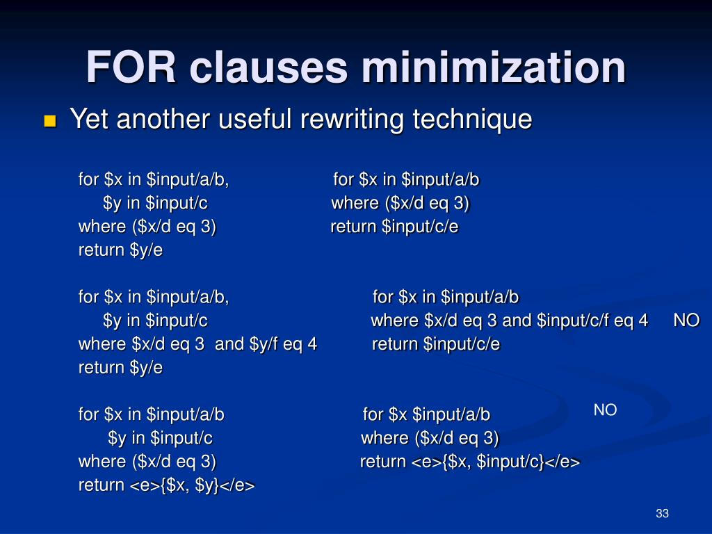 FOR clauses minimization