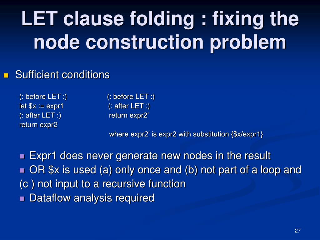 LET clause folding : fixing the node construction problem