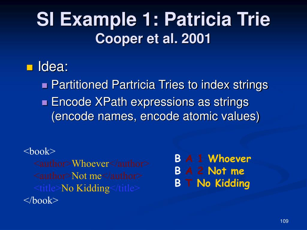 SI Example 1: Patricia Trie