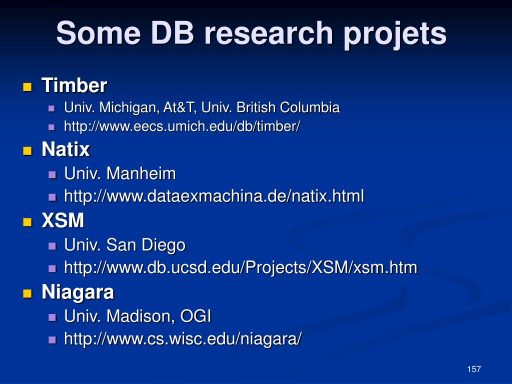 Some DB research projets