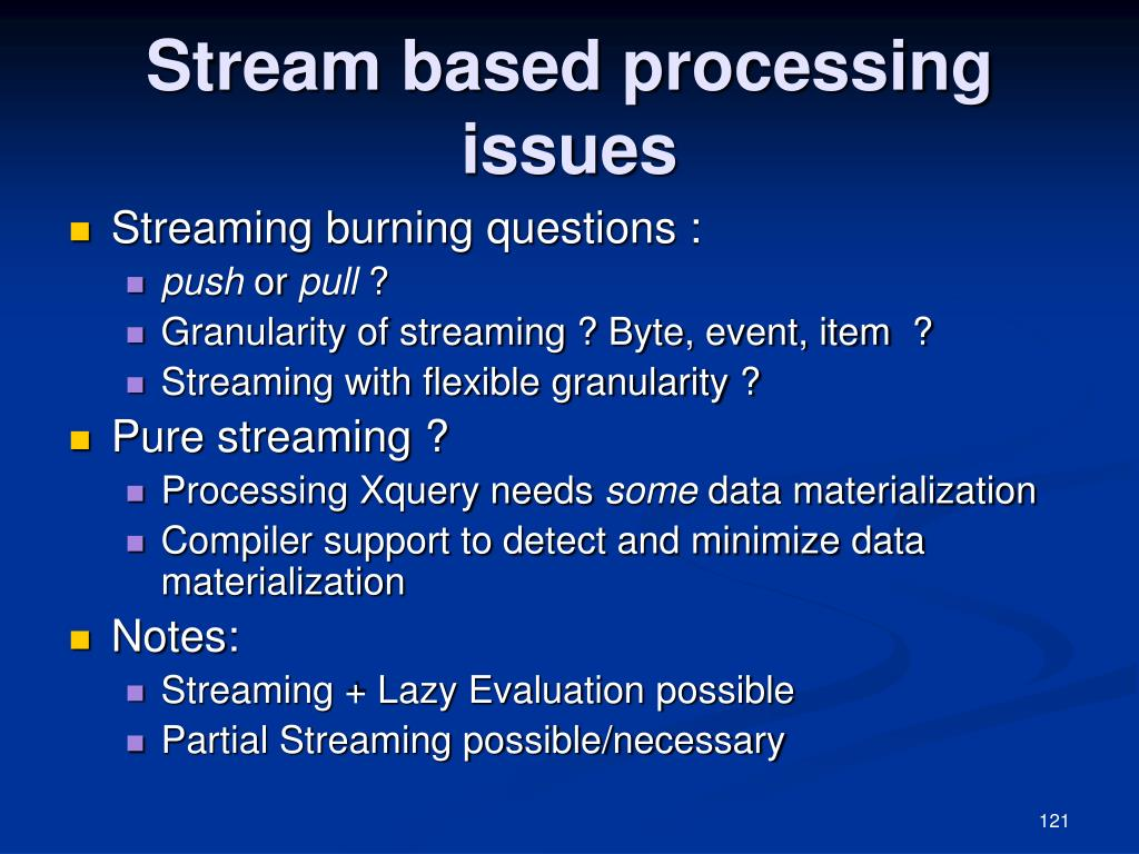 Stream based processing issues